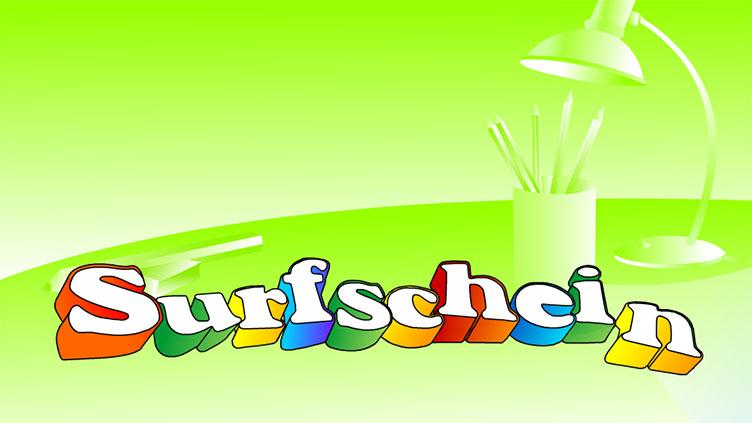"""Logo mit der Aufschrift: """"Surfschein"""" in bunter Schrift"""