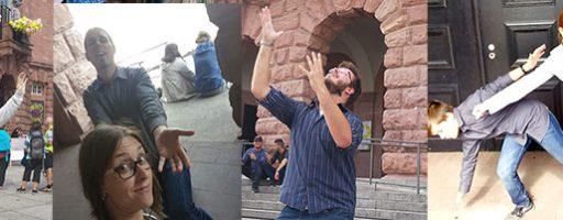 Menschen in unterschiedlichen Posen; kreative Aufgaben bei der QR-Code-Rallye der Clearingstelle auf dem Wissenschaftsmarkt Mainz