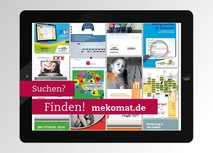 Tablet mit verschiedenen Angeboten aus der Datenbank mekomat