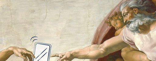 Michelangelos Die Erschaffung Adams abgewandelt – mit Smartphone dazwischen