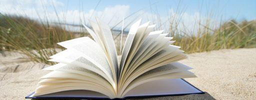 Ein aufgeklapptes Buch am Strand (Symbolbild für das Thema Vorlesen)