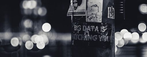 "Plakat mit Aufschrift ""Big data is watching you"", Lyon (F) - NSA"