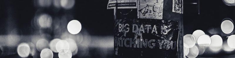 "Plakat mit Aufschrift ""Big data is watching you"", Lyon (F) - NSA"