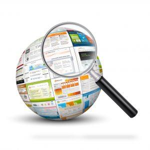 Lupe mit Internetseiten als Kugel - Suchen - Über uns