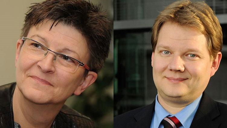 Das Bild zeigt auf der linken Seite eine Frau, rechts einen Mann. Chancen des digitalen Wandels ergreifen
