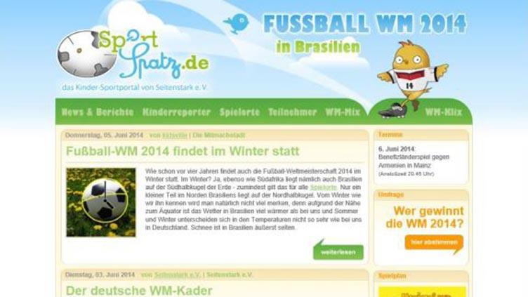 Screenshot der Startseite.