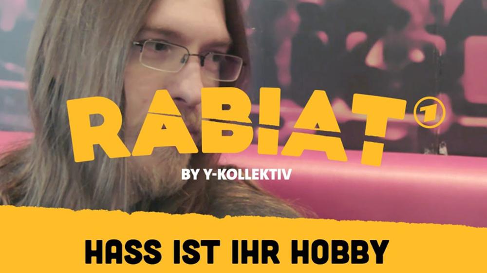 Coverbild mit der Inschrift: Rabiat! – Hass ist ihr Hobby. Dahinter ist ein Mann mit längeren Haaren zu sehen.