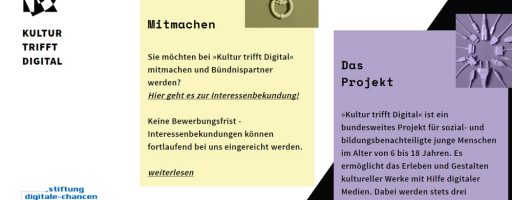 Screenshot der Website des Projekts Kultur trifft Digital