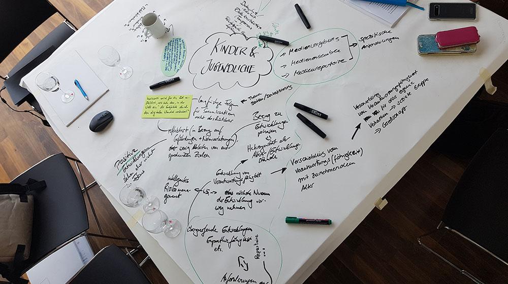 Metaplan-Ergebnisse der Tischgruppe zu Kindern und Jugendlichen beim Fachgespräch
