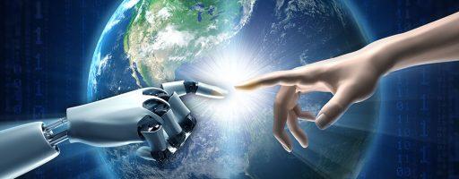 """Theologische Reflexion - Menschen- und Roboterhand in Anlehung an Michelangelos """"Die Erschaffung Adams"""" - Maschinen Kirche"""