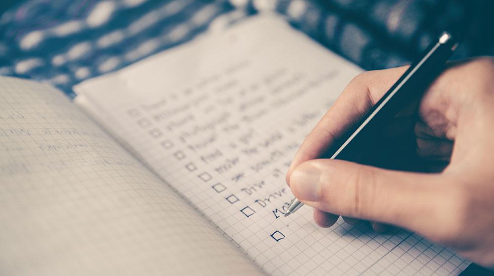 Lernen Notizbuch Checkliste