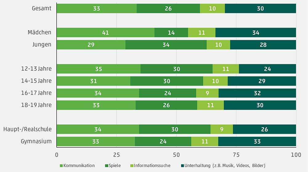 Inhaltliche Verteilung der Internetnutzung JIM Studie 2019