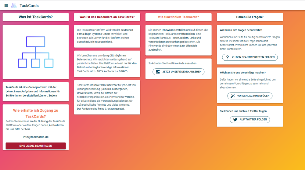 Screenshot der Website TaskCards