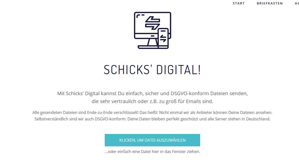 Schicks.digital: Screenshot der Website