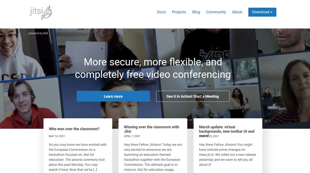 Screenshit der Website des Projekts und Open-Source-Software jitsi